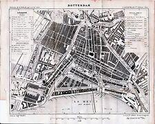 Rotterdam 1883 kl. orig. plattegrond + frans reisgids (11 p) Groote Kerk Kip Str