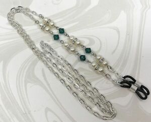 Cream and Emerald Green Eyeglass Chain w/ Swarovski™ crystals, Glasses Holder