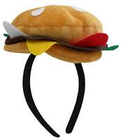 Unisex Adult Mini Hamburger Headband Hat Food Vendor Halloween Costume Accessory