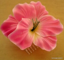 "4 1/4"" Pink Hibiscus Poly Silk Flower Hair Comb,Wedding,Prom,Dance,Bridal"