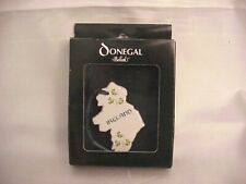 Belleek Donegal Ireland Map Shape Porcelain Christmas Ornament w/ Clovers ~Nib!