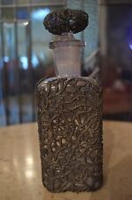 Vintage Apothecary Glass Bottle w/Pewter Overlay Beautiful