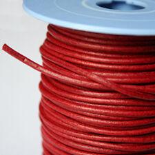 Lacet de cuir rond au mètre, diam 3 mm Rouge