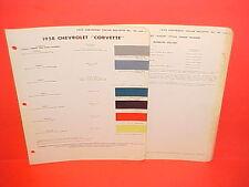 1958 CHEVROLET CORVETTE CONVERTIBLE PAINT CHIPS BROCHURE CHEVY ROADSTER VETTE 58