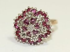 Dazzling 9ct Yellow Gold Ring Set With Rubies and Diamonds Size N