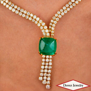 GRA Diamond 51.39ct Green Emerald 18K Gold Elegant Necklace 54.7 Grams NR
