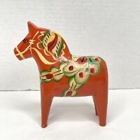 Vintage Traditional Hand Carved Wooden Dala Horse Sweden Swedish Orange