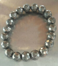 Pyrite Stone 10 MM Faceted Bracelet♥Self Confidence♥Remove Blockage♥Good Feeling