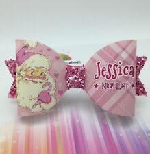 """Any Name Pink Santa """"NICE LIST"""" Glitter Hair Bow - Personalised Christmas Bow"""