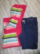 Guc 5/6 Gymboree Cardigan Hooded Sweater Multi/ Blue Landsend Corduroy Pants