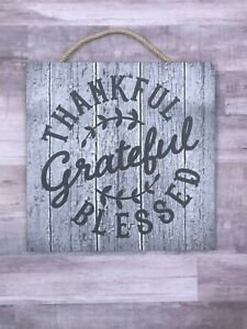 """Thankful, Grateful, Blessed Wooden Sign, Autumn, 10"""", Wood, Handmade, P243"""