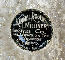 """VINTAGE MILLINERY ~ Glass Dome BUTTON 1 1/4"""" ~ Vintage HAT ADVERTISING Words"""