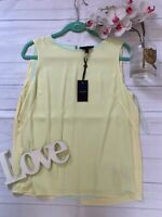 Ted baker Size 3 UK 12 yellow floaty vest top camisole loose fit summer Alys NEW