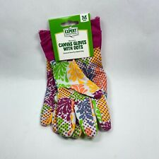 Canvas Gardening Gloves PVC Dots for Grip Floral Pattern Women Size Medium New