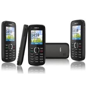 Nokia C1-02 Schwarz Basic Handy Entsperrt ohne Simlock MP3 Fm Verpackt