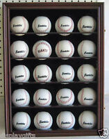 20 Baseball Display Case Wall Cabinet Shadow box, UV Protection, Lock, B20-CH