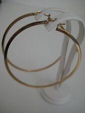 9 ct oro amarillo clásico 50mm diámetro plano pendientes de aro NUEVO