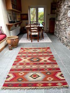 Kashi Kilim Area Rug Red Multi Colour Geometric Fine Wool Cotton Area Runner Rug