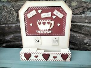 Enchante Wooden Perpetual Calendar with Holder free standing or wall mounted vgc