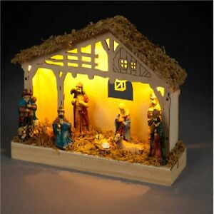 Battery Operated 19cm Wooden Nativity Scene With Warm White LEDs