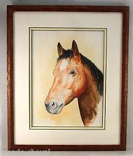 PEINTURE MODERNE, AQUARELLE ENCADREE, tête de  cheval, 2007