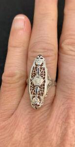 Genuine Art Deco, Solid 18ct White Gold, Natural Diamond & Sapphire Dress Ring.