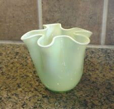 Vintage Two's Company Light Green/White Wave Vase HandWroght Origin