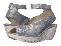 Fly London Women's Yala Leather Wedge Sandals - Jeans Corcuma