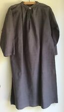 Smoke Grey 100% Thick Linen Smock  Dress By UNBRANDED  Size M/L