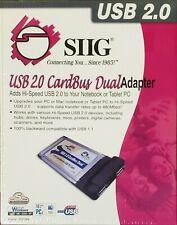 New Siig Hi-Speed Usb2.0 2-Port Cardbus Adapter w/ Hot-Swap Feature Ju-Pcm222