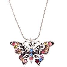 "Butterfly Pendant Necklace Jewelry Tibetan Silver Rhinestone Multi-color 18""+2"""
