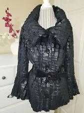 Joseph Ribkoff Luxury Black Textured Sheared Faux Fur Belted Coat 12671 Sz.10