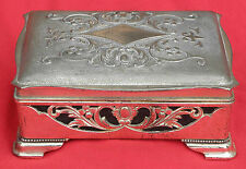 Plated Metal Jewellery/Trinket Box with Pierced Decorations.