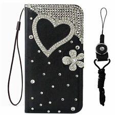 For Motorola MOTO Bling Love Flower leather flip wallet Phone cover case