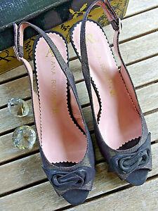 ANA ROMAN Women's Black Silver Flecked Peep Toe Heeled Evening Shoes Size 41