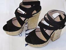 Miu Miu Women's Camoscio Lame Sandal, Black Shoe (UK 7.5, EU 40.5, US 10.5)