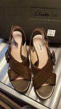 ladies shoes wedge heel clarks  dark green  size 6.5 uk trophy crown