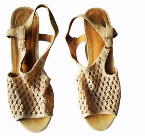 Fergalicious by Fergie beige mesh wine cork women's wedge sandals size 9M