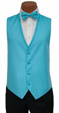 Small Mens Turquoise Diamond Fullback Wedding Prom Formal Tuxedo Vest Tie Set