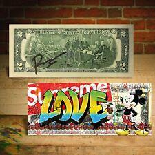 MICKEY MOUSE Spray Paint SUPREME LOVE Genuine $2 Bill Rency Art - S/N Ltd of 80