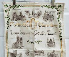 New listing Vtg Cathedrals Church Abbey Bell Cherub London Cotton Kitchen Dish Towel England