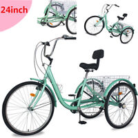 "24"" 7Speed Adult Trike Tricycle 3-Wheel Bike w/folding Basket for Shopping Gift"