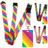 High quality ID badge holder RAINBOW STRIPES & Secure Lanyard neck strap soft