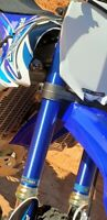 Fork Guards Covers Blue Brushed Aluminum Graphics Yamaha YZ 250F 450F 125 250 X
