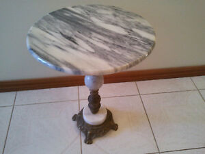 Vintage Marble and Brass Coffee table / Side Table / Plant Stand Furniture