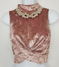 Topshop Top Sleeveless Cropped Turtle Neck Velour Pink Stretchy Twisted Front 8