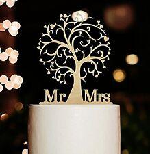 ~*~MR & MRS Tree Wedding Cake Topper Wooden Picks Decoration~*~Rustic