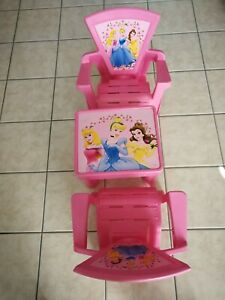 Vintage Pink Disney Princess Girls Table And Chair Set  Kids Toddler USA Made