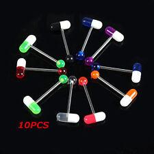 Pretty 10PCS Mixed Color Pill Style Tongue Nipple Bar Ring Barbell Body Piercing