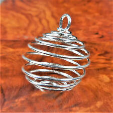 Cage Necklace - Flexible Gemstone Coil Pendant - Silver Jewelry Parts